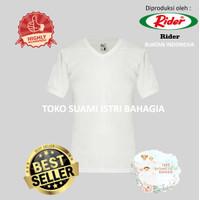 Kaos Rider R222B Putih Pria Kaos V Neck T-Shirt Tebal Anti Melar Ori