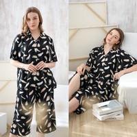 Kaia Set in Black Brush - Sleepwear / Piyama Baju Tidur Rayon by RAHA