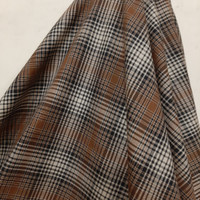Kain Kotak Semi Wool ( Coklat Garis Hitam )