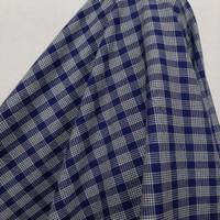 Kain Kotak Semi Wool ( Biru Navy Garis Putih )