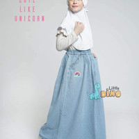 Rok Jeans Anak Remaja Dewasa Little Dino - Ice Blue
