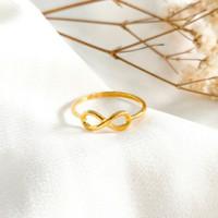 Cincin wanita infinity untuk Hadiah Teman Ring Gold shop Emas asli