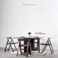 Meja makan meja lipat kayu solid Fabio Artista Home - Chocolate