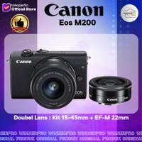 Canon Kamera Mirrorless Eos M200 Kit 15-45mm + EF-M 22mm f/2 STM Lens