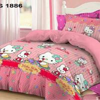 Sprei Satin Jepang ORI Premium Motif Anak Hello Kitty 90x200x25