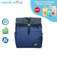 Thermal Bag / Cooler Bag Natural Moms - Backpack Flip Blue