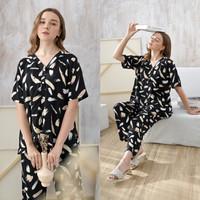 Vanya Set in Black Brush - Sleepwear / Piyama Baju Tidur Rayon by RAHA