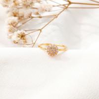 Cincin wanita bulat permata Putih round Ring Gold shop Toko Emas asli