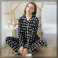 Anna Set in Calm Black - Sleepwear / Piyama Baju Tidur Rayon by RAHA