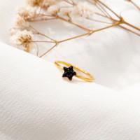 Cincin wanita Bintang simple permata hitam Cantik star Ring stack Emas