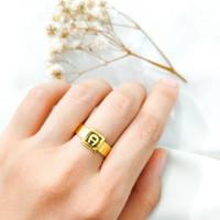 Cincin wanita Branded Square simple cantik Jewellery kotak Ring Emas