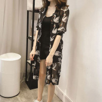 Kimono Outer Korea Sifon Wanita Lengan Panjang Motif Print