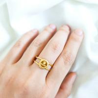 Cincin wanita Branded bulat simple cantik Jewellery Round Ring Emas