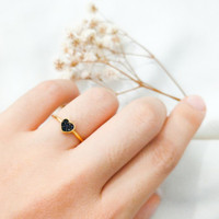 Cincin wanita Hati simple permata Hitam Cantik Love Ring stack Emas