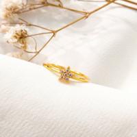 Cincin wanita Bintang simple permata Putih Cantik star Ring stack Emas
