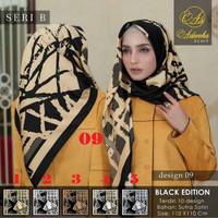 Jilbab Segi Empat Motif Satin By Sarysha Warna Black Gold White