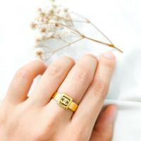 Cincin wanita Kotak Branded Square simple cantik Jewellery Ring Emas