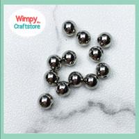 Mote Bola Silver Beads Manik Bahan Aksesoris Payet Gelang Kalung Charm
