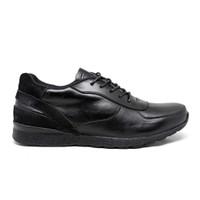 Sepatu Sneakers Kulit Asli Pria Murah Original Running Trainer - Full Hitam, 39