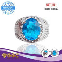 Cincin Batu Permata Blue Topaz Original