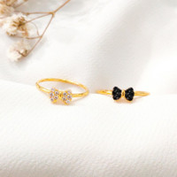 Cincin wanita pita simple permata Hitam Cantik Ribbon Ring stack Emas