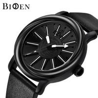 jam tangan BIDEN pria Putar dial Mode Tali kulit Tahan Air Jam Tangan