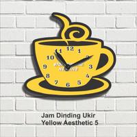 Jam Dinding Hiasan Pajangan Dekorasi Wall Decor Yellow Aesthetic 5