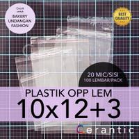 OPP LEM 10 x 12 +3 cm Plastik Bening Seal Bungkus Roti Undangan 10x12