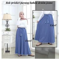 rok plisket jeans rawis wanita modern/rok jeans wanita kekinian