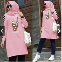 TUNIK TIME TO DRINK / FASHION MUSLIM / FASHION WANITA MUSLIM - PINK