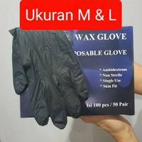 Sarung Tangan Medis Nitrile Wax Glove Black Hitam M L 100 pcs