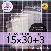 OPP LEM 15 x 30 +3 cm Plastik Bening Seal Bungkus Roti Undangan 15x30
