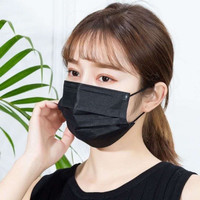 MASKER 3 PLY HITAM ISI 50PCS / DISPOSABLE FACE MASK 3 PLY