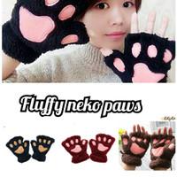 sarung tangan cakar kucing fleece / sarung tangan neko paw fleece