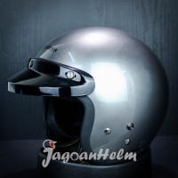 CARGLOSS Helm CF RETRO| Silver Metalic | Half Face CARGLOS ARMY