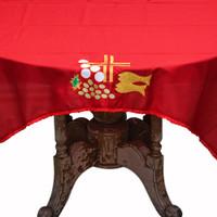 Taplak Meja Misa Altar Warna Bordir Motif 2 Ikan Uk. 115 cm x 150 cm