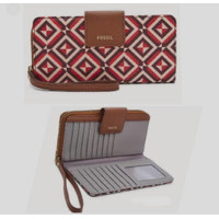 Madison zip clutch red multi