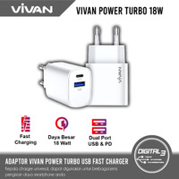 Vivan Power Turbo 18 Watt QC3.0 USB + Type-C PD Charger Adaptor