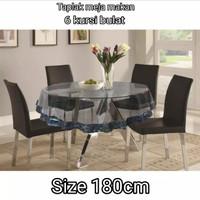 Taplak meja makan plastik bening anti air 6 kursi bulat PVC murah