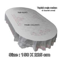 taplak meja makan anti air oval 6 kursi waterproof putih 150x230cm