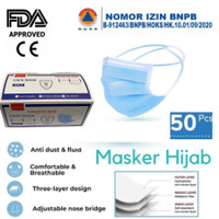 Masker Headloop Hijab 3 Ply 3Ply Face Mask anti Debu Virus isi 50 Pcs