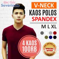 [4 KAOS 100RB] Kaos Polos SPANDEX / SPANDEK V-NECK Cowok Lengan Pendek
