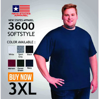 FOR SALE Kaos polos XXXL 3XL merk NSA New states apparel soft tee 3600