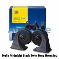 Hella Midnight Black Twin Tone Horn Set 12V Klakson Keong Motor Mobil