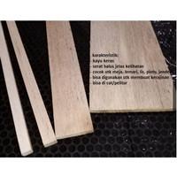 Kayu jati putih papan 4mm x 80mm / 8cm untuk maket kayu keras
