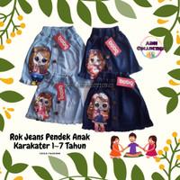 Rok Jeans Pendek Anak Perempuan Karakter || Estimasi 1~7 Tahun - Navy, S