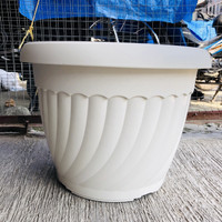 Pot bunga plastik putih/ hijau silver 40cm