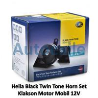 Hella Black Twin Tone Horn Set 12V Klakson Keong Hitam Motor Mobil