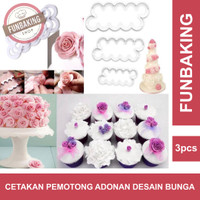 DapurCandy - 3pcs Cetakan Bunga Rose Pemotong Adonan Kue Fondant