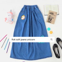 Little dino Rok panjang jeans anak 7-10 tahun Unicorn - Biru Tua, S 5-6 tahun